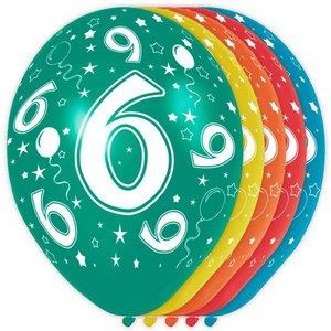 6 jaar ballonnen rondom bedrukt