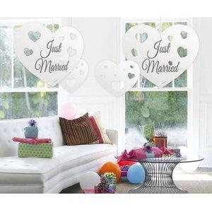 Hangdecoratie witte harten Just Married