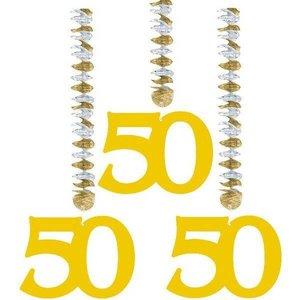 Decoratie hangende cijfers 50 goudkleurig