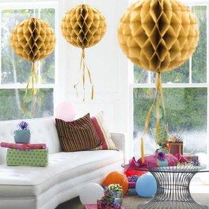 Honeycomb decoratie 30cm goudkleurig
