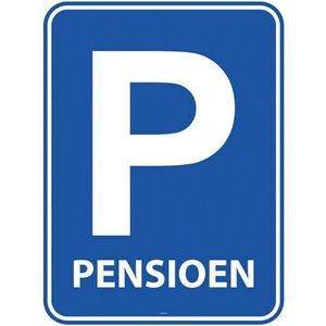 Deurbord Pensioen blauw