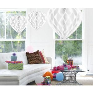 Honeycomb decoratie 30cm hart wit