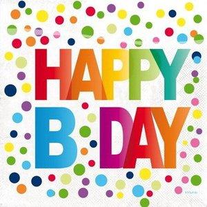 Servetten Happy Birthday Dots
