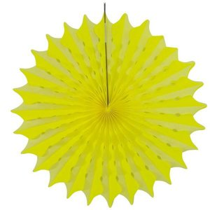 Honeycomb waaier 45cm neon geel