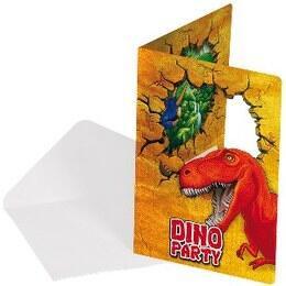 Kinderfeestje dinosaurus met uitnodigingskaartjes