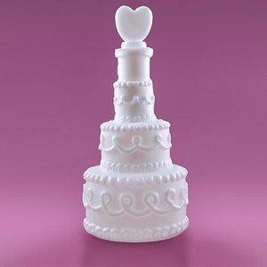 Bellenblaas bruidstaart met hartje 4 stuks