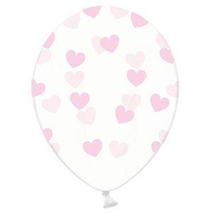 Ballonnen transparant met lichtroze hartjes