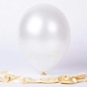 Ballonnen metallic parelmoer wit 10 stuks