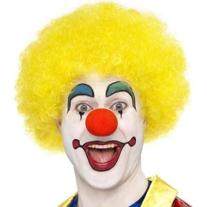 Pruik afro of clown luxe geel