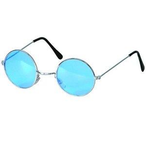 Bril hippie met blauw gekleurd glas