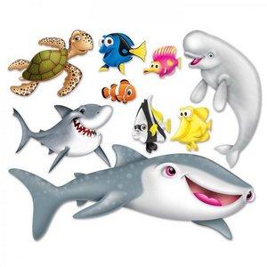 Wanddecoraties zeedieren 9 stuks