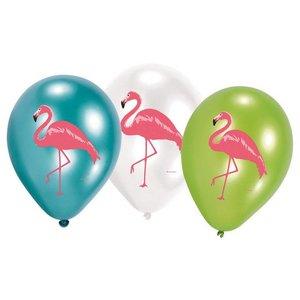 Ballonnen flamingo stijlvol 6 stuks