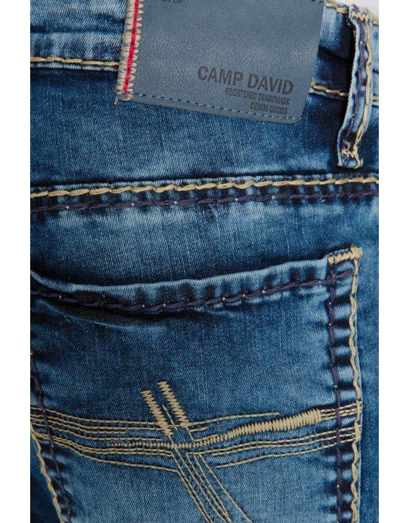 Camp David ® Blue Used Denim met brede stiksels