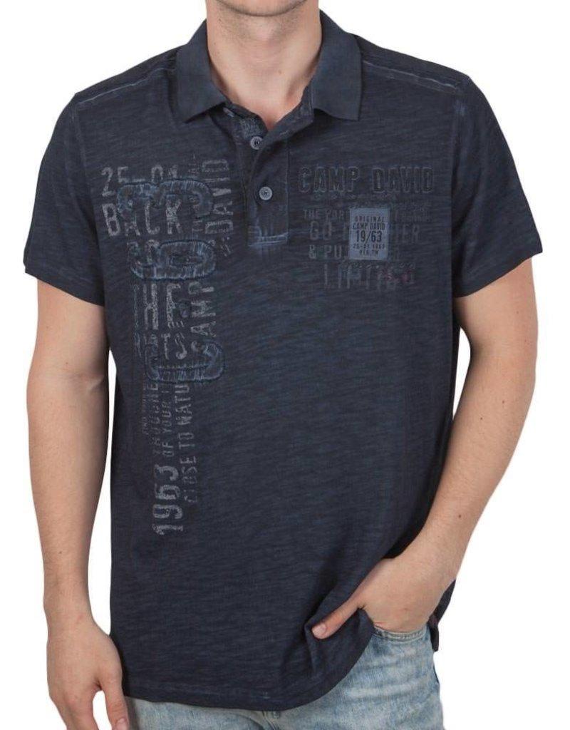 Camp David ® Poloshirt Artwork Donkerblauw