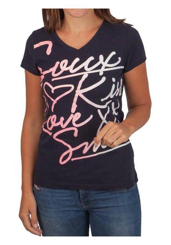 T-Shirt Met Frontprint, Donkerblauw