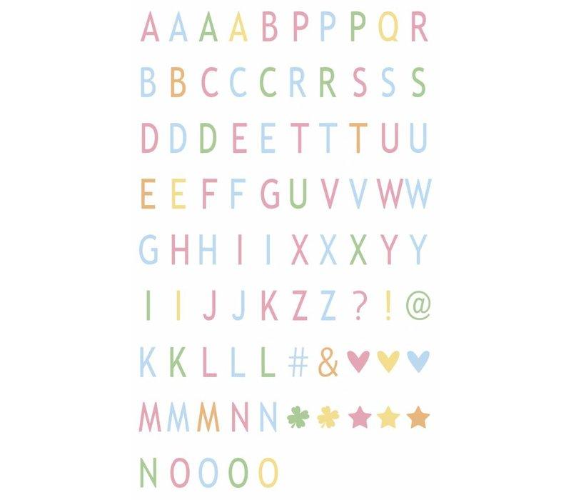LEDR® - 85 pastelkleurige letters & symbolen - A3 & A4