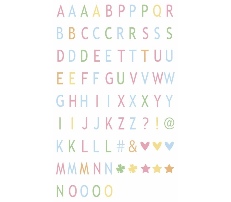 LEDR® - 85 pastel coloured letters & symbols  - A6