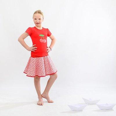 YEZ-Handmade Circular skirt CERISE