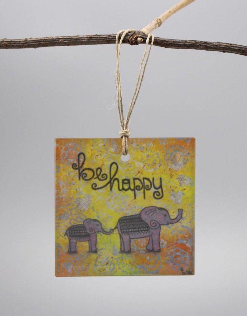 """Glashänger """"be happy"""""""
