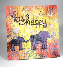 "Holzdruck M ""be happy"""