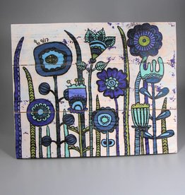 "Holzdruck M ""Flowers Blue"""