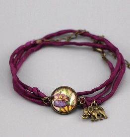 Seidenarmband Blume Live, Love, Laugh