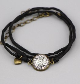Seidenarmband Mehndi Muster schwarz