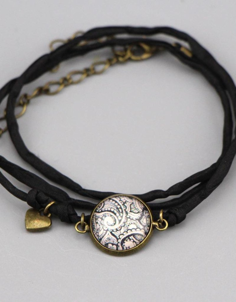 Armband aus Seide - Mehndi Muster schwarz