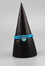 Armband aus Seide - Mehndi Muster hellblau
