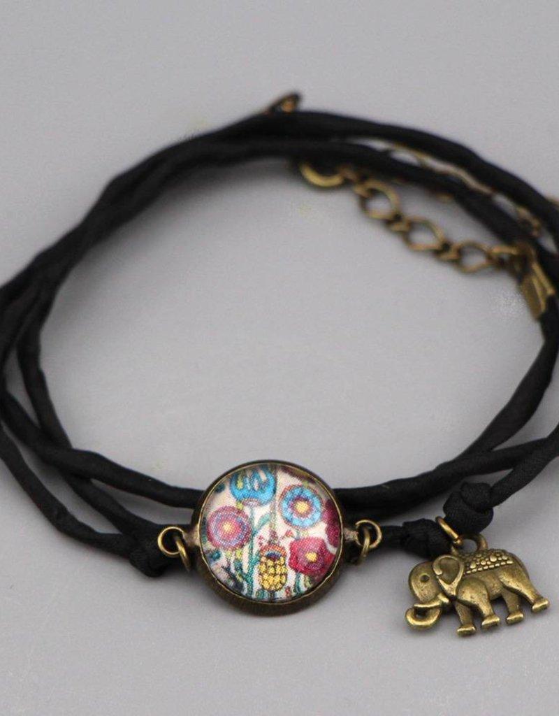 Armband aus Seide - Blumenwiese