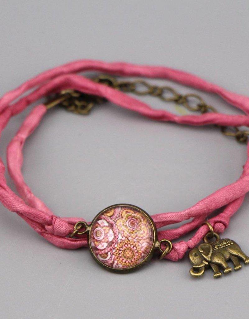 Armband aus Seide - Mehndi Muster altrosa