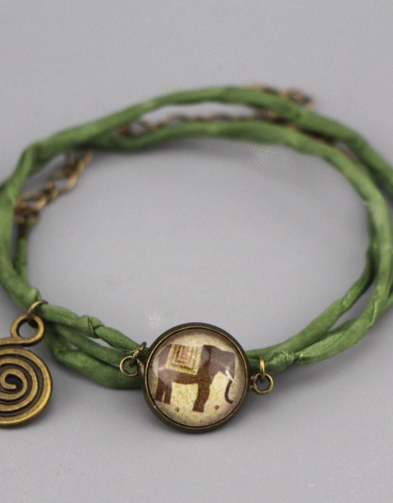 Armband aus Seide - Elefant in braun