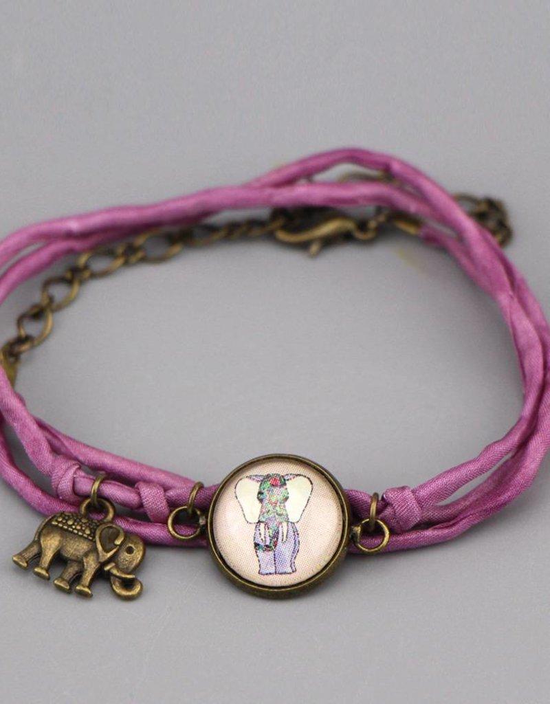 Armband aus Seide - Glückselefant