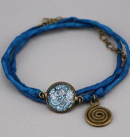 Seidenarmband Mehndi Muster dunkelblau