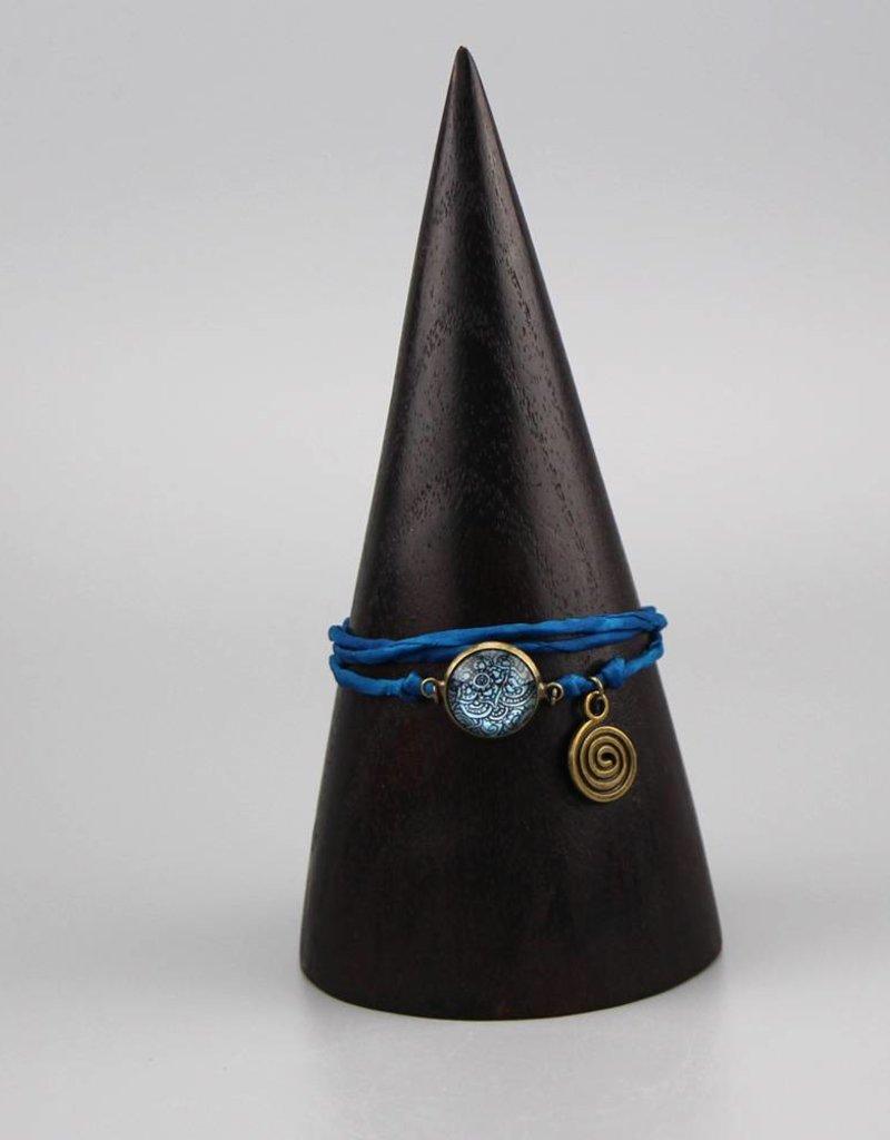 Armband aus Seide - Mehndi Muster dunkelblau