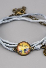 Armband aus Seide - be happy