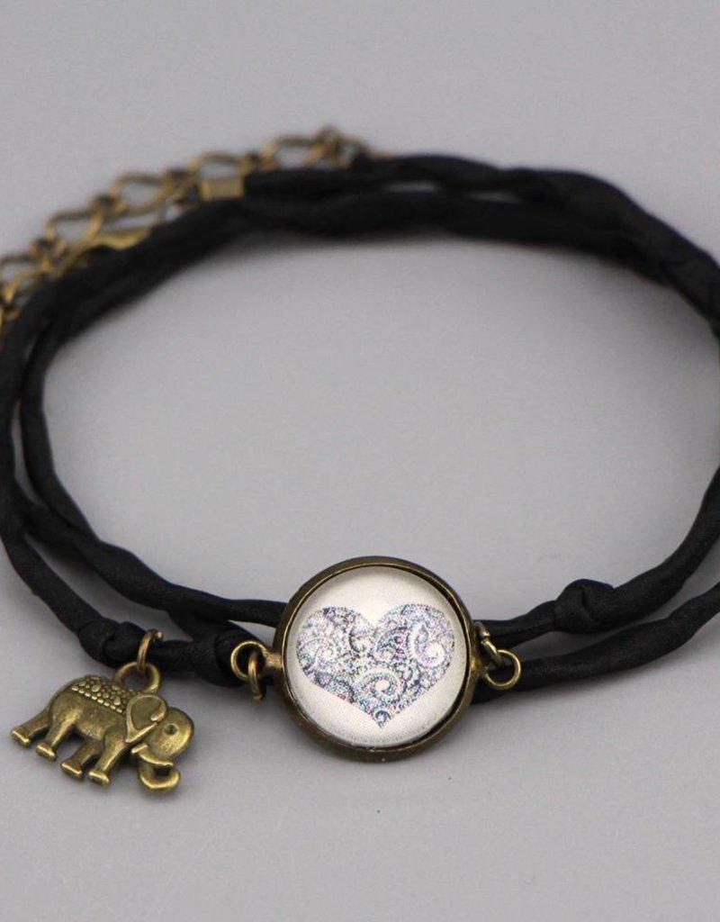 Armband aus Seide - Mehndi Herz in schwarz