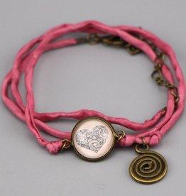 Seidenarmband Mehndi Herz in rosa