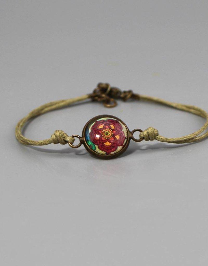 Armband aus Baumwolle - Blume beige