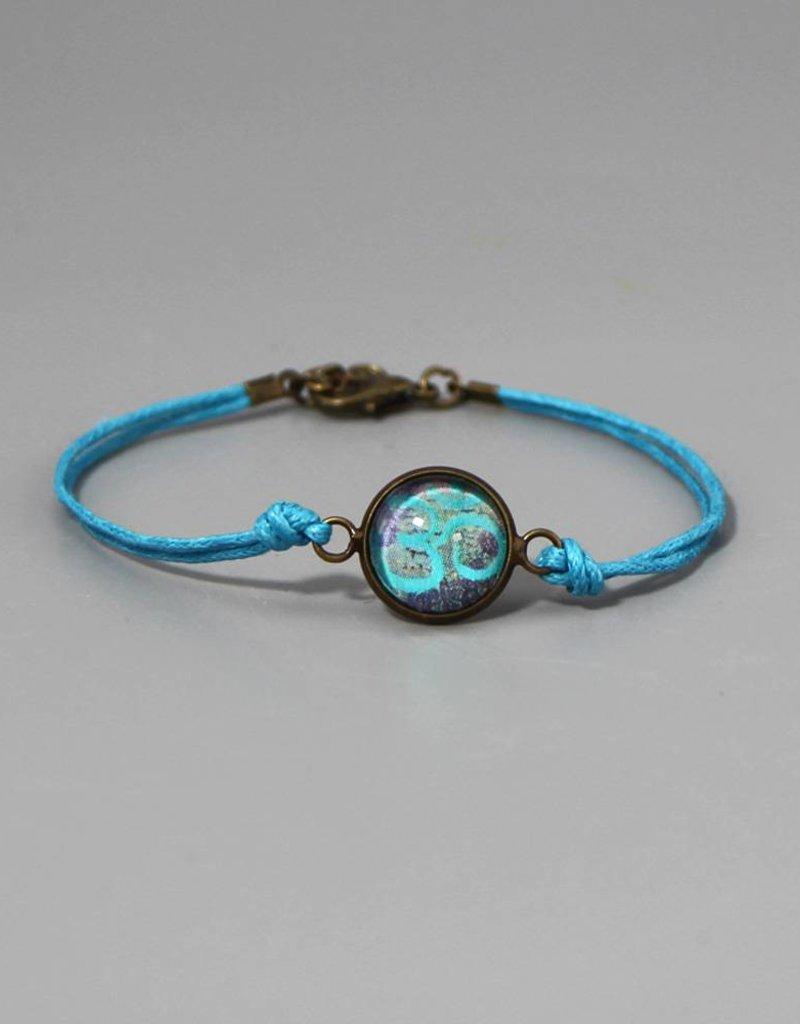 Armband aus Baumwolle - Om hellblau