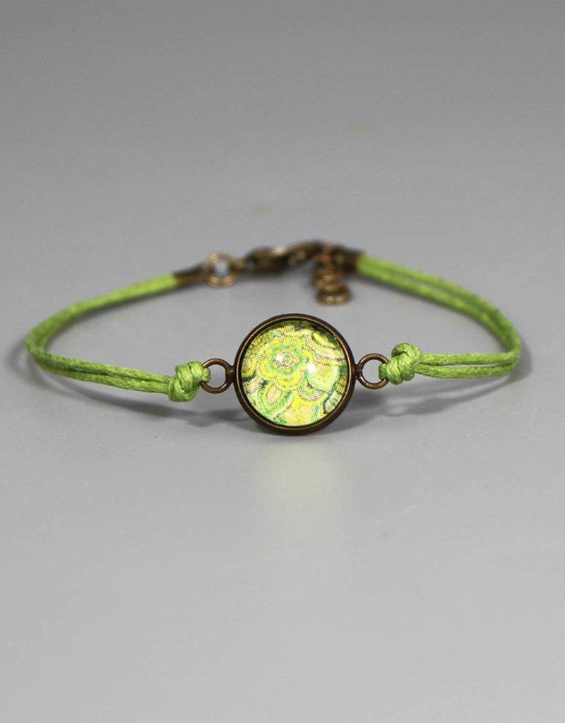 Armband aus Baumwolle - Mehndi Muster hellgrün