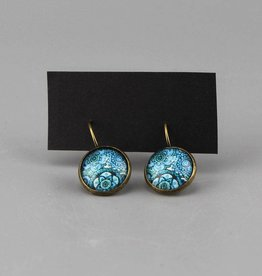 Ohrhänger Mehndi Muster blau