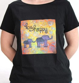 Damen T-Shirt be happy