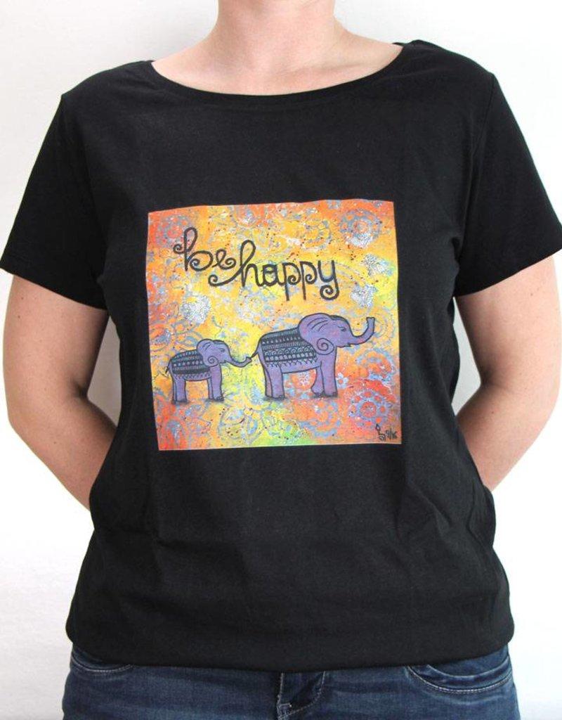 Damen T-Shirt be happy Größe XL