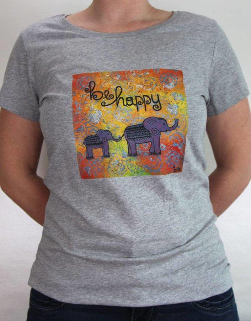 Damen T-Shirt be happy