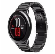REBL Metalen watchband met vlindersluiting voor de Xiaomi Huami Amazfit Pace - Zwart