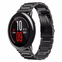 Metalen watchband met vlindersluiting voor de Xiaomi Huami Amazfit Pace - Zwart