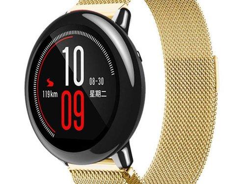 REBL Milanese watchband met magnetische sluiting voor de Xiaomi Huami Amazfit Pace - Goudkleurig