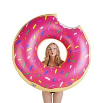 Grote Zwemband Roze Strawberry Donut Pool Float 1.2m