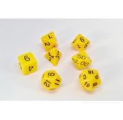 7-delige Polydice / dobbelstenen Set voor dungeons & dragons | Geel | REBL